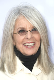 Diane Keaton opted for a simple straight hairstyle when she attended the premiere of 'Book Club.'