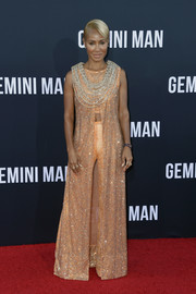 Jada Pinkett Smith was hippie-glam in a Swarovski-crystal-embellished, split-front maxi dress by Armani Prive, which she wore over a matching crop-top and pants, at the premiere of 'Gemini Man.'