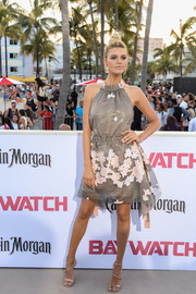 Kelly Rohrbach was summer-glam in a flower-appliqued gray halter dress by Fendi at the world premiere of 'Baywatch.'