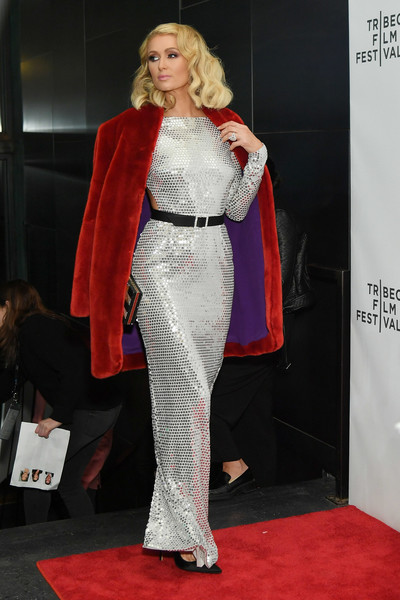 Paris Hilton Fur Coat [the american meme,red carpet,carpet,clothing,fashion,fashion model,flooring,shoulder,premiere,event,dress,paris hilton,screening,new york city,spring studios,tribeca film festival]