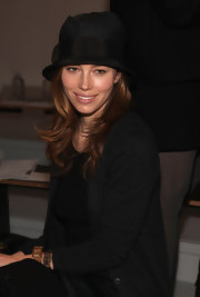 Jessica Biel has been making the rounds at Fashion Week. She makes another stop at the Paris68 Fashion Show wearing a cute black derby hat.