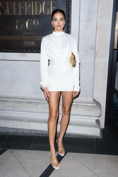 Shanina Shaik stayed on trend with a pair of PVC sandals.