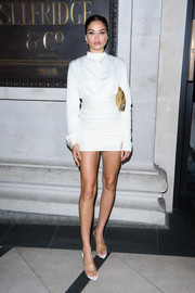 Shanina Shaik flashed her legs in a super-short LWD at the Technicolour Odyssey campaign launch.
