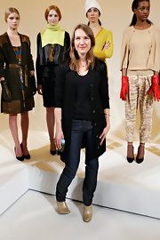 Marcia Patmos wore classic skinny jeans to her Fall 2013 presentation in NYC.