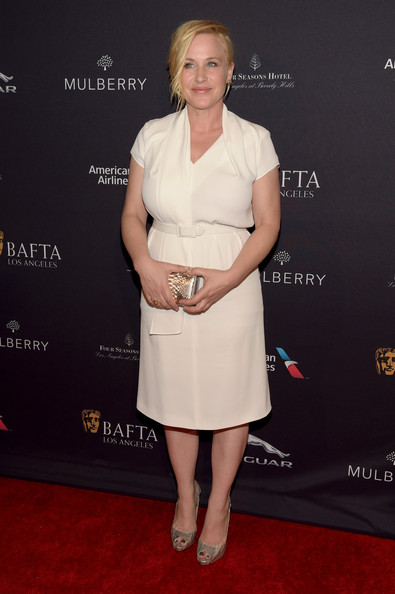 Patricia Arquette Metallic Clutch [clothing,dress,cocktail dress,red carpet,carpet,hairstyle,shoulder,fashion,premiere,footwear,arrivals,patricia arquette,los angeles,beverly hills,california,the four seasons hotel,tea party,bafta]