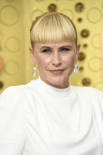 Patricia Arquette Classic Bun [hair,face,hairstyle,blond,eyebrow,chin,forehead,bangs,smile,bob cut,arrivals,patricia arquette,emmy awards,microsoft theater,los angeles,california]