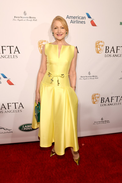 Patricia Clarkson Evening Dress [red carpet,clothing,dress,carpet,shoulder,yellow,fashion,premiere,joint,flooring,arrivals,patricia clarkson,los angeles,four seasons hotel,california,beverly hills,bafta,tea party]