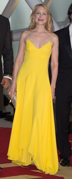 Patricia Clarkson Evening Dress [dress,clothing,fashion model,yellow,shoulder,gown,carpet,red carpet,fashion,haute couture,marrakech,morocco,marrakech international film festival - opening ceremony,ceremony,marrakesh international film festival,patricia clarkson]