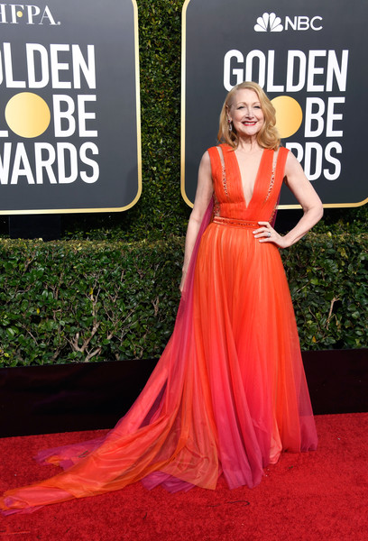 Patricia Clarkson Evening Dress [flooring,carpet,red carpet,dress,gown,haute couture,cocktail dress,fashion model,girl,arrivals,patricia clarkson,the beverly hilton hotel,beverly hills,california,golden globe awards]