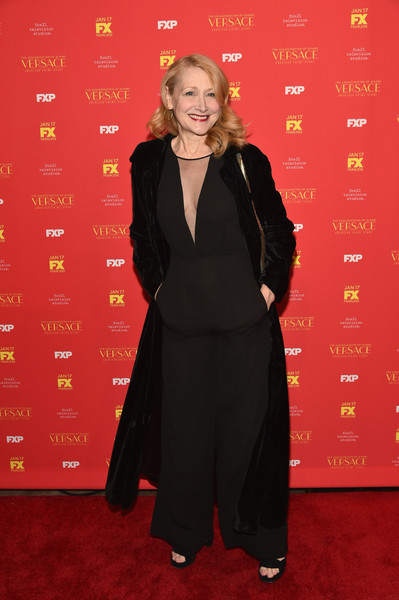 Patricia Clarkson Jumpsuit [the assassination of gianni versace: american crime story,red carpet,carpet,clothing,formal wear,flooring,outerwear,suit,tuxedo,dress,little black dress,patricia clarkson,metrograph,new york screening]