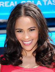 Paula Patton swept on a glossy mauve lipstick for a Pepsi event in LA.