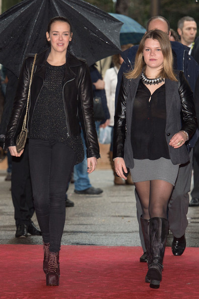 Pauline Ducruet Leather Jacket [clothing,fashion,tights,leather,fashion model,footwear,outerwear,event,knee-high boot,leather jacket,camille gottlieb,pauline ducruet,l-r,monaco,monte-carlo,38th international circus festival]