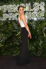 Olivia Culpo cut a curvy silhouette in this body-hugging combo dress by ADEAM at the Pencils of Promise Gala.