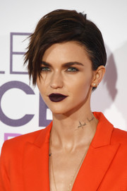 Ruby Rose's shapely pout was impossible to miss thanks to that dark purple lip color.