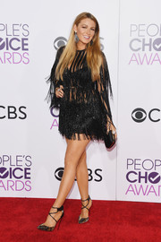 Blake Lively went extra frilly in a fringed black mini dress by Elie Saab for the 2017 People's Choice Awards.