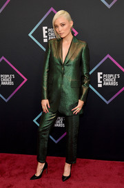 Pom Klementieff looked sharp in an iridescent pantsuit by Akris at the 2018 People's Choice Awards.