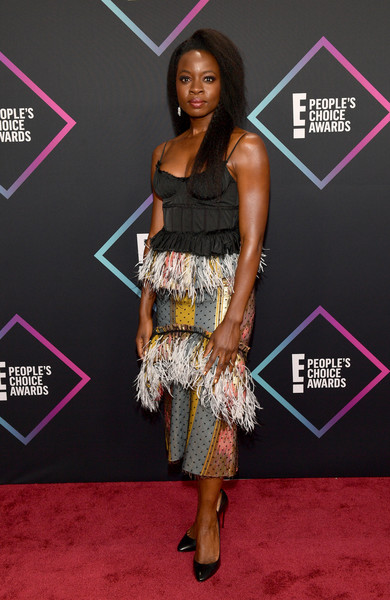Danai Gurira donned a black corset top by Brock Collection for the 2018 People's Choice Awards.