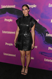 Mandy Moore was rocker-chic in a sequined leather LBD by Dundas at the 2019 People and Entertainment Weekly Upfronts.