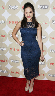 Hayley Orrantia looked very ladylike in a blue lace cocktail dress during People's Ones to Watch party.