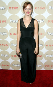Ahna O'Reilly's sheer-panel black jumpsuit at the Ones to Watch party had a chic '70s feel.