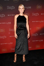 Serinda Swan polished off her look with a pair of black ankle-strap heels.