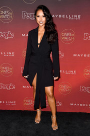 Karrueche Tran styled her LBD with silver slim-strap sandals.