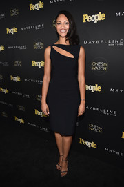 Cynthia Addai-Robinson teamed her dress with a pair of color-speckled slim-strap heels.