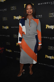 Garcelle Beauvais did matchy-matchy right with this printed pencil skirt and blouse combo.