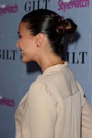 Emmanuelle Chriqui pulled her hair back in a cute twisted bun for the People StyleWatch Denim Awards.