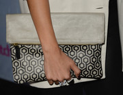 Jamie Chung finished off her ensemble in modern style with this geometric-print clutch when she attended the People StyleWatch Denim Awards.