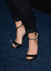 Sasha Pieterse's black evening sandals at the People StyleWatch Denim Awards looked oh-so-chic with their embellished ankle straps.
