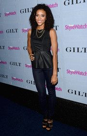 Annie Ilonzeh chose an elegant black peplum top for the People StyleWatch Denim Awards.