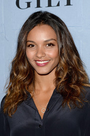 Jessica Lucas styled her hair in a casual curly 'do for the People StyleWatch Denim Awards.