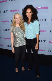Sherri Saum nailed the denim-on-denim look with this button-down and black jeans combo.