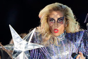 Lady Gaga glittered from head to toe at the Super Bowl halftime show with this crystal eye makeup and silver bodysuit combo!
