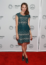 Amy Acker's teal lace peplum dress at the 'Person of Interest' panel during PaleyFest had a chic 1920s feel.