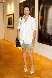 Garance Dore rocked a pair of rolled-up old shorts at the Peter Lindbergh exhibition.