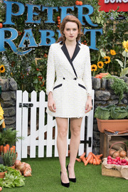 Daisy Ridley showed us an ultra-feminine way to suit up with this flower-appliqued tuxedo dress by Teresa Helbig at the UK premiere of 'Peter Rabbit.'