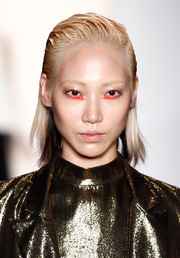 Soo Joo Park wore an edgy 'do while walking the Peter Som runway.