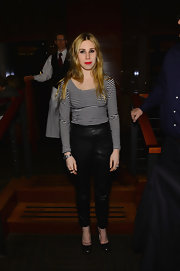 Zosia Mamet wore this striped blouse for an added rocker-chic look at the 'Phil Spector' premiere.