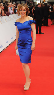 Sian Williams balanced sweet and sexy in her shoulder-baring blue cocktail dress.