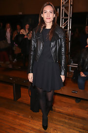 Zani Gugelmann added some flavor to her all-black look with a classic black leather jacket.