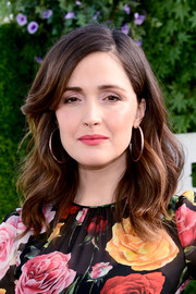 Rose Byrne blinged up with a pair of oversized gold hoops.