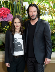 Winona Ryder went menswear-chic in a black tux jacket and matching trousers at the photocall for 'Destination Wedding.'
