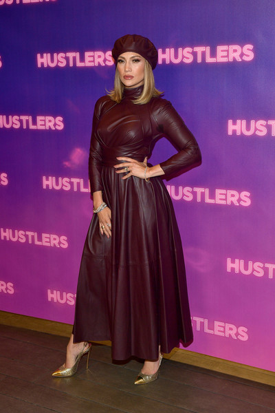 Jennifer Lopez looked fall-ready in an oxblood leather maxi dress by Zimmerman at the photocall for 'Hustlers.'