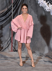 Vanessa Hudgens was a boho cutie in a loose pink mini dress by Giamba at the 'Second Act' photocall.
