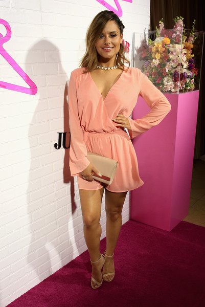 Pia Toscano Romper [fashion model,pink,footwear,flooring,leg,fashion,carpet,thigh,magenta,joint,pia toscano,ready-to-wear,west hollywood,california,sunset tower,justfab celebrates launch of ready-to-wear,justfab,launch]