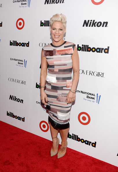 Pink Print Dress [women in music,red carpet,clothing,carpet,dress,shoulder,cocktail dress,fashion,premiere,joint,footwear,p nk,annual women in music event,new york city,capitale,billboard,event]