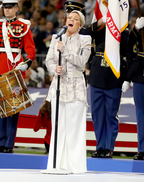Pink Wide Leg Pants [national anthem,uniform,marching band,musician,event,marching,pink,pregame,minneapolis,minnesota,u.s. bank stadium,super bowl lii,pregame show]
