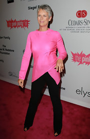 Jamie Lee Curtis' bubblegum pink asymmetrical top was perfection for the 2011 Pink Party.